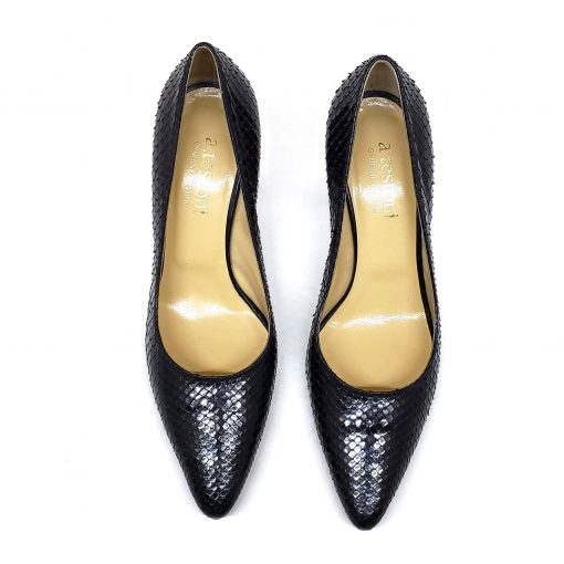 Testoni Black Shiny Python Lady's Pumps, F400041 6