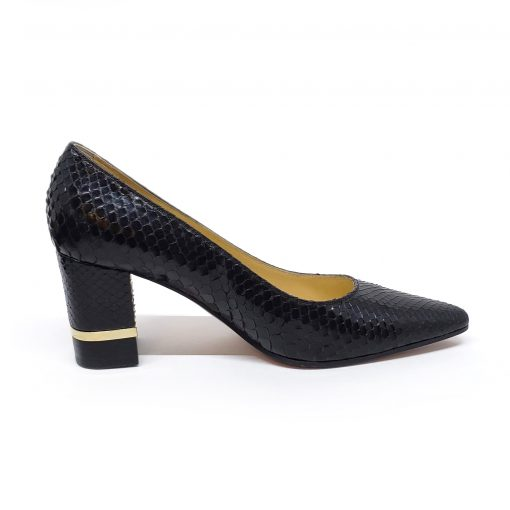 Testoni Black Shiny Python Lady's Pumps, F400041 7