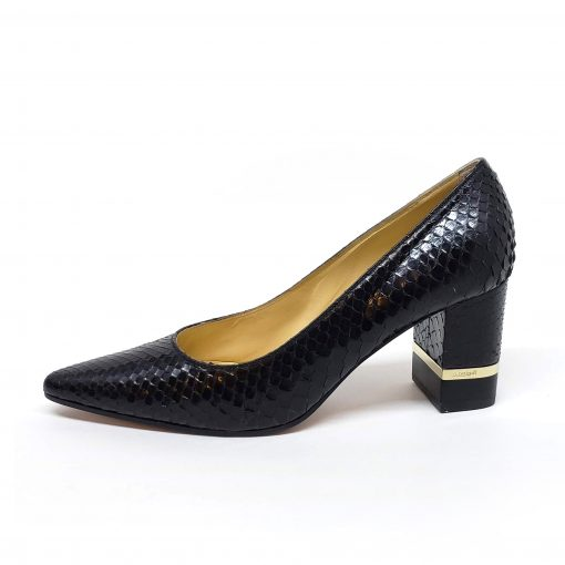 Testoni Black Shiny Python Lady's Pumps, F400041 4