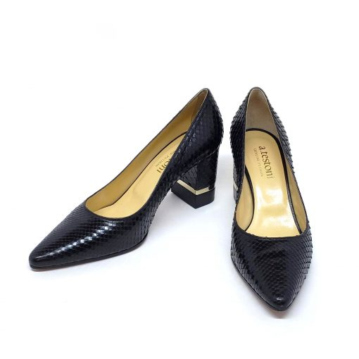 Testoni Black Shiny Python Lady's Pumps, F400041