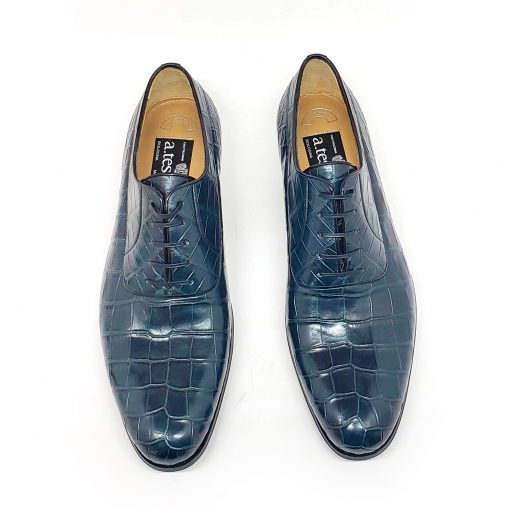 A.Testoni Navy Blue Crocodile Leather Oxford Shoes, M12202UDG-blue 6