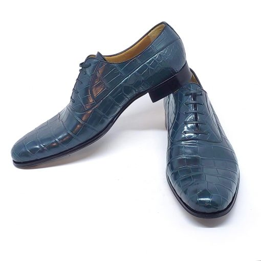 A.Testoni Navy Blue Crocodile Leather Oxford Shoes, M12202UDG-blue