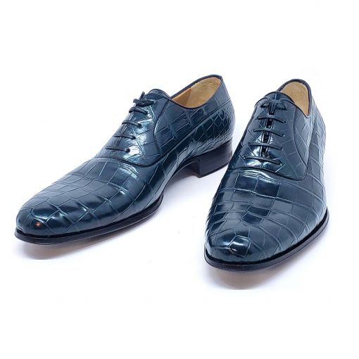 A.Testoni Navy Blue Crocodile Leather Oxford Shoes, M12202UDG-blue 3