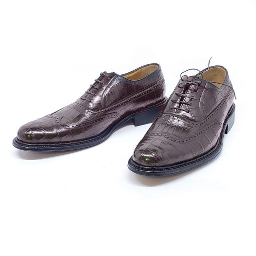 A.Testoni Brown Crocodile Leather Elitario Oxford Shoes, M11707UDM 5