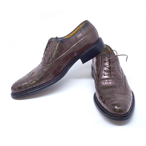 A.Testoni Brown Crocodile Leather Elitario Oxford Shoes, M11707UDM