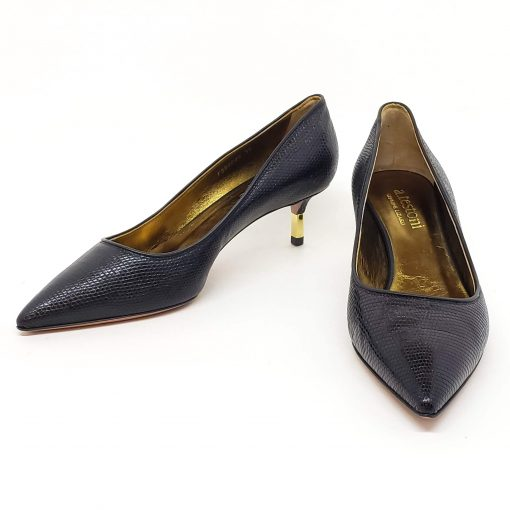 Testoni Black Lizard Lady's Pumps, 98LIZPVV