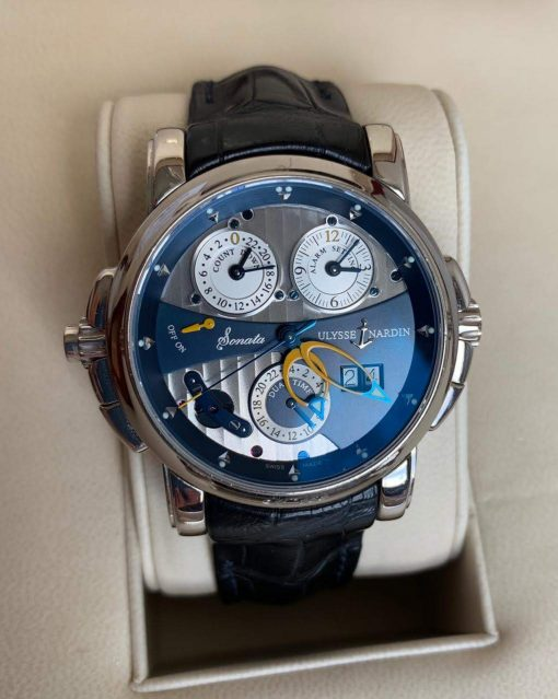 Ulysse Nardin Sonata Cathedral Dual Time White Gold Watch, Pre-owned.670-88-213 8