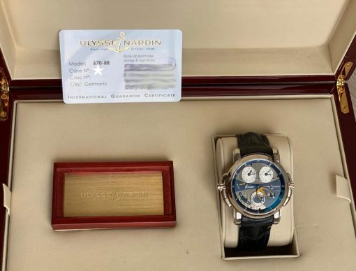 Ulysse Nardin Sonata Cathedral Dual Time White Gold Watch, Pre-owned.670-88-213 4