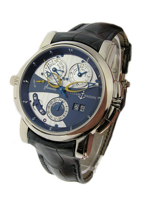 Ulysse Nardin Sonata Cathedral Dual Time White Gold Watch, Pre-owned.670-88-213