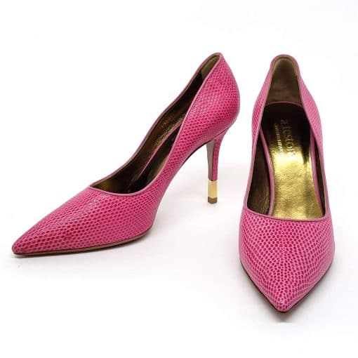 Testoni Pink Lizard Leather Lady's Pumps, 98LIZQZZ