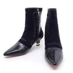 Testoni Black Shiny Python and Suede Lady's Short Boots, Pre-owned.F400052 Pre-owned.F400052