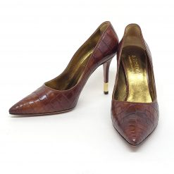 Testoni Brown Crocodile Lady's Pumps, 98640RHD 98640RHD