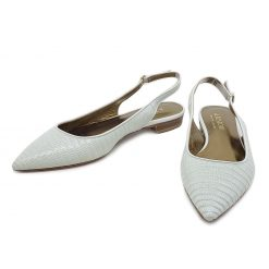 Testoni White Lizard Lady's Flat Shoes 98LIZPLL