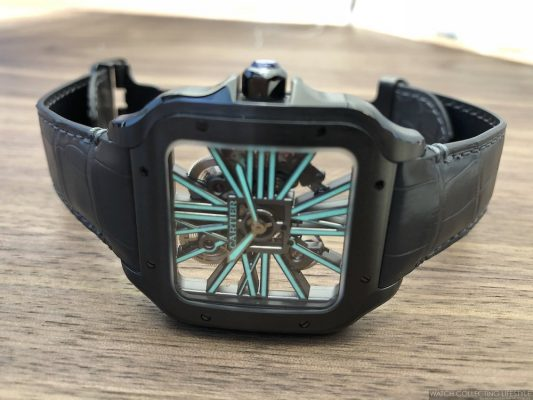 """The Cartier Santos Skeleton ADLC """"Noctambule"""" With Luminescent Skeletonized Caliber For 2019"""