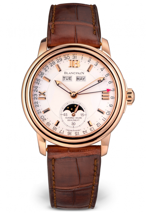 Blancpain Leman Moonphase & Complete Calendar 18KRose Gold Mens Watch, Preowned-3563A-3642-53B