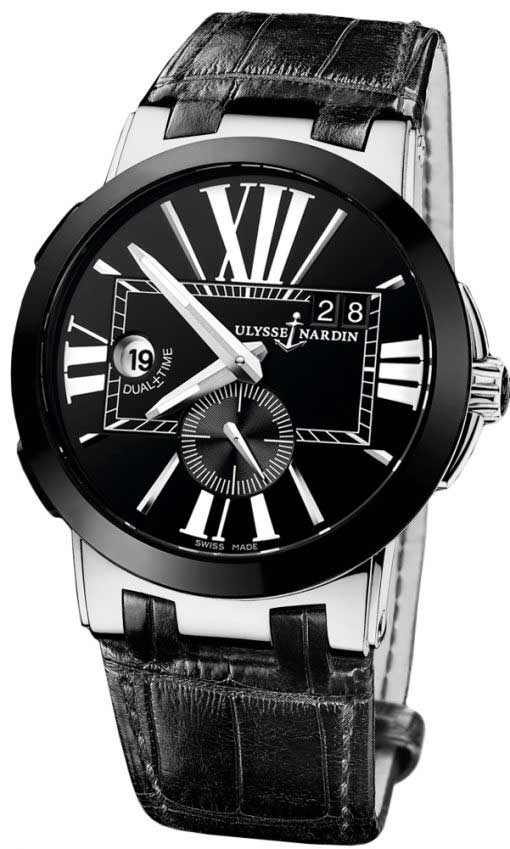 Ulysse Nardin Executive Dual Time Stainless Steel & Ceramic Men's Watch, Preowned 243-00/42-1