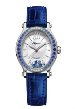 Chopard Happy Sport 18K White Gold & Diamonds & Sapphires 275362-1003