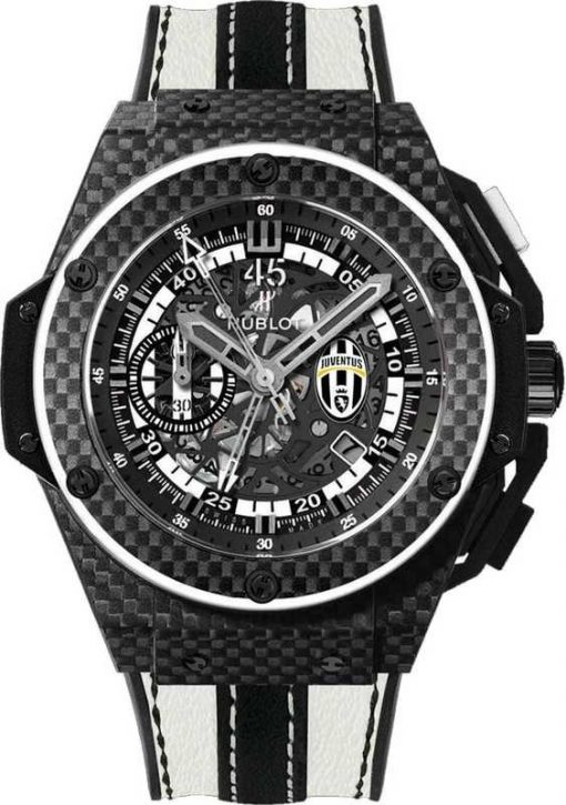 Hublot King Power Juventus Mechanical Limited Edition Carbon & Ceramic Men's Watch, preowned.716.QX.1121.VR.JUV13