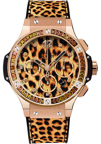 Hublot Big Bang Leopard Chronograph 18K Rose Gold & Andalusites & Smoked Quartz & Citrine Ladies Watch, Preowned.341.PX.7610.NR.1976