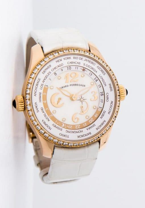 Girard Perregaux Classique Elegance World Time 18K Rose Gold & Diamonds Ladies Watch, preowned.49860D52A761