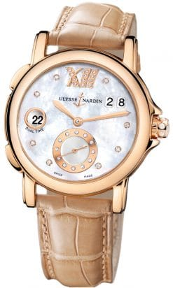 Ulysse Nardin GMT Big Date 18K Rose Gold Ladies Watch preowned.246-22B/391