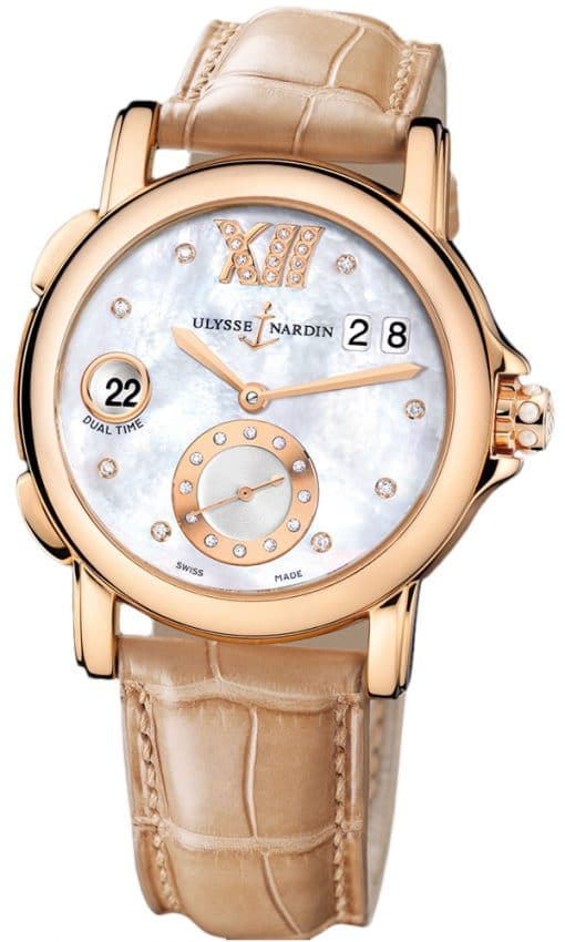 Ulysse Nardin GMT Big Date 18K Rose Gold Ladies Watch, preowned.246-22B/391