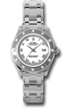 Rolex Datejust Pearlmaster 18K White Gold & Diamond Ladies Watch Preowned.80319wr