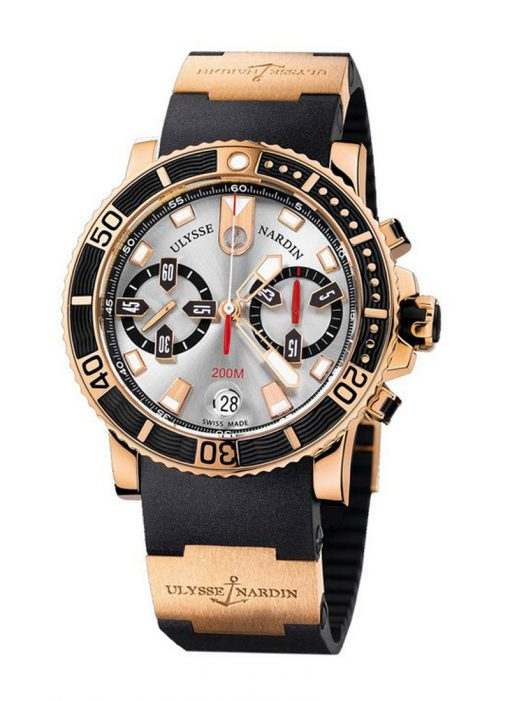 Ulysse Nardin Maxi Marine Diver Chronograph Dial 18K Rose Gold Men's Watch, Preowned-8006-102-3A/91