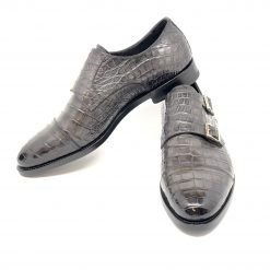 Santoni Limited Edition Gray Double Buckle Crocodile Leather Men's Shoes, MUWI07749MC5HDVO MUWI07749MC5HDVO