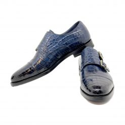 Santoni Limited Edition Blue Crocodile Leather Men's Shoes, MUWI07749MC5HACQ MUWI07749MC5HACQ