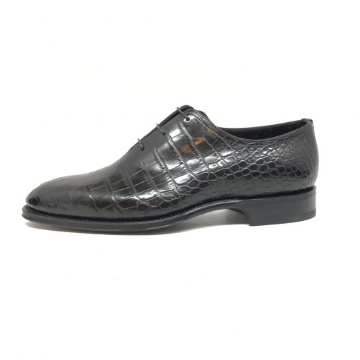 Santoni Limited Edition Black Crocodile Leather Men's Shoes, MULA10339MC2HACQ 6