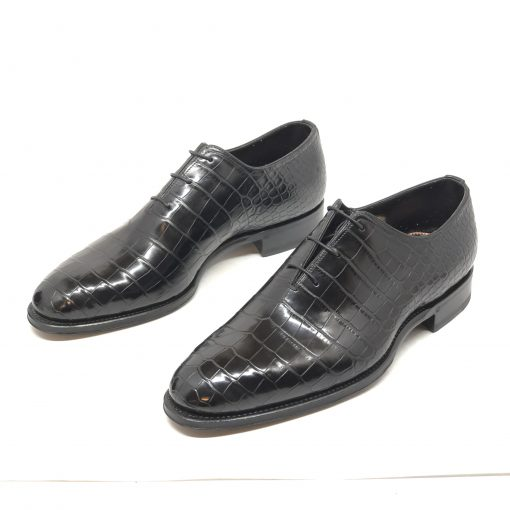 Santoni Limited Edition Black Crocodile Leather Men's Shoes, MULA10339MC2HACQ 3
