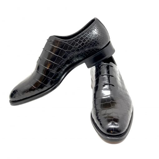 Santoni Limited Edition Black Crocodile Leather Men's Shoes, MULA10339MC2HACQ