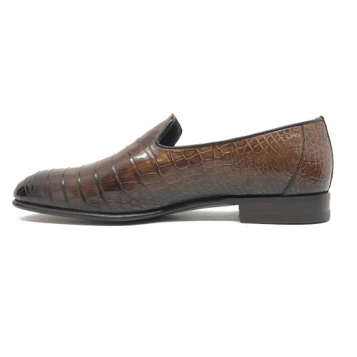 Santoni Limited Edition Brown Crocodile Leather Men's Shoes, MULP12632WB1RACQ 5