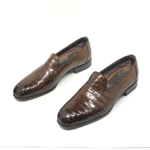 Santoni Limited Edition Brown Crocodile Leather Men's Shoes, MULP12632WB1RACQ 6