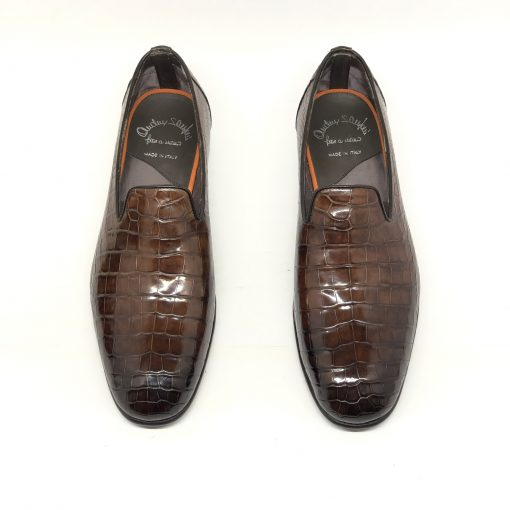 Santoni Limited Edition Brown Crocodile Leather Men's Shoes, MULP12632WB1RACQ 2