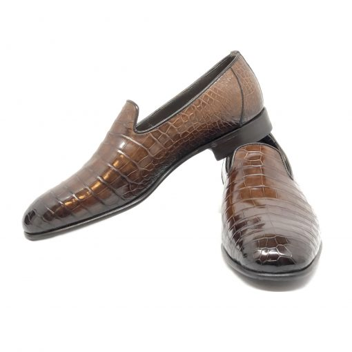 Santoni Limited Edition Brown Crocodile Leather Men's Shoes, MULP12632WB1RACQ