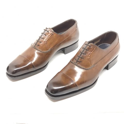 Santoni Limited Edition Brown Leather Men's Shoes, MUNY14309DC3HRNR 4
