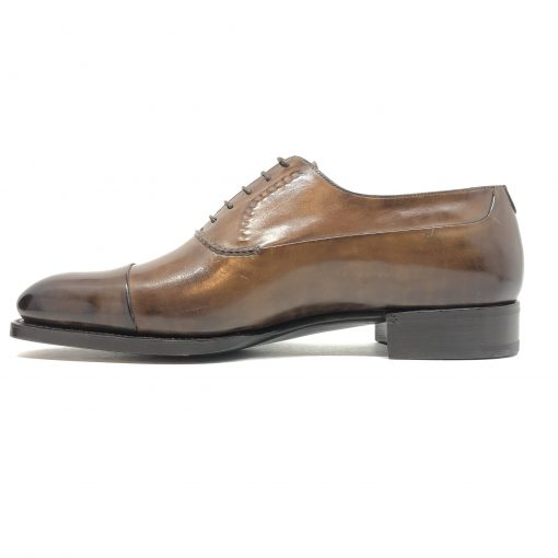 Santoni Limited Edition Brown Leather Men's Shoes, MUNY14309DC3HRNR 2