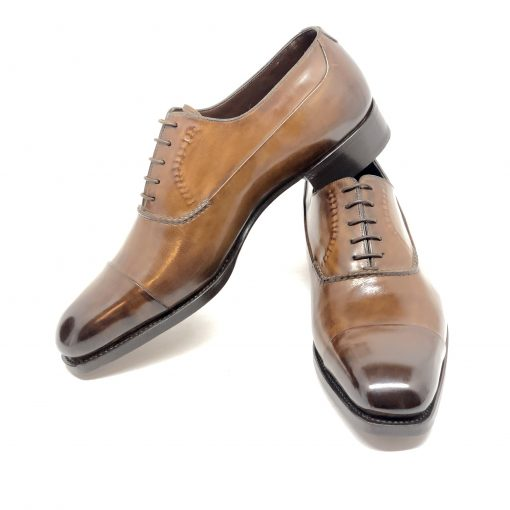 Santoni Limited Edition Brown Leather Men's Shoes, MUNY14309DC3HRNR