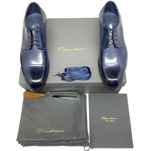 Santoni Limited Edition Blue Leather Men's Shoes, MUVI15555EB1HRNRU52 6