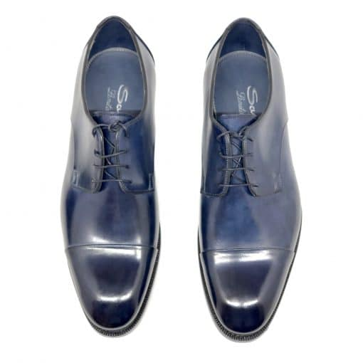 Santoni Limited Edition Blue Leather Men's Shoes, MUVI15555EB1HRNRU52 2