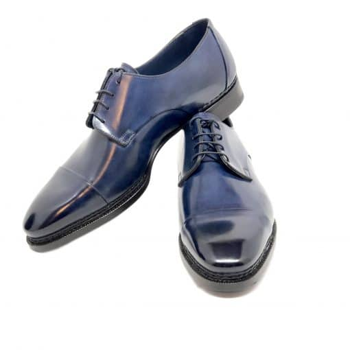 Santoni Limited Edition Blue Leather Men's Shoes, MUVI15555EB1HRNRU52