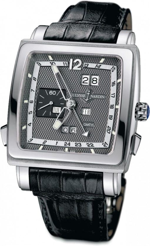 Ulysse Nardin Quadrato Dual Time 18K White Gold & Stainless Steel Men's Watch, Preowned.320-90-8M/69 2