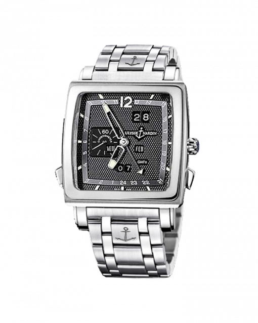 Ulysse Nardin Quadrato Dual Time 18K White Gold & Stainless Steel Men's Watch, Preowned.320-90-8M/69