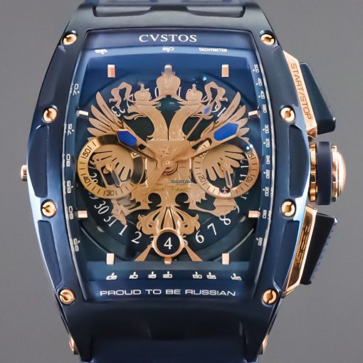 Cvstos Challenge Chrono II Proud to be Russian Blue Steel 5N Gold Men's Watch Limited Edition, Cvstos-Challenge-Chrono-II- PTB-Russian-Blue-Steel-Gold
