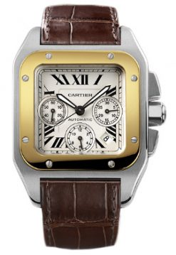 Cartier Santos Chronograph XL Stainless Steel & 18K Yellow Gold Men's Watch preowned.W20091X7