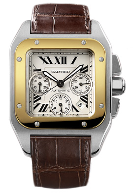 Cartier Santos Chronograph XL Stainless Steel & 18K Yellow Gold Men's Watch, preowned.W20091X7