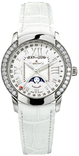 Blancpain Leman Complete Calendar 18K White Gold & Diamonds Ladies Watch, Preowned.3253-6044-55B