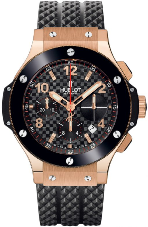 Hublot Big Bang Rose Gold Ceramic Rubber Chronograph Automatic Men's Watch, 341.PB.131.RX